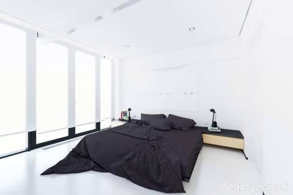 دکوراسیون داخلی اتاق خواب ها با رنگ سفید و سیاه