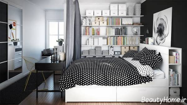 اتاق خواب سیاه و سفید با دکوراسیون زیبا