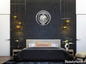 دکوراسیون زیبا و شیک اتاق خواب با رنگ سیاه و سفید