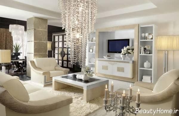دکوراسیون شیک و مدرن اتاق پذیرایی کلاسیک