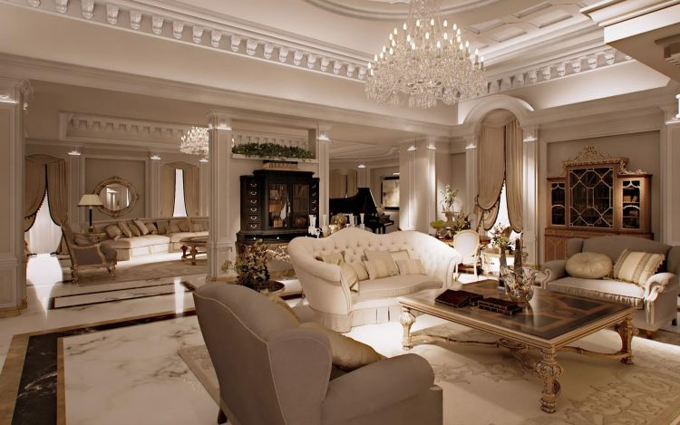 دکوراسیون داخلی اتاق پذیرایی کلاسیک