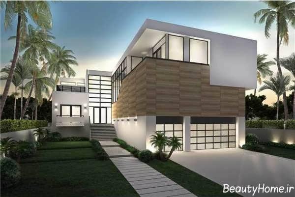 نمای زیبا و شیک ساختمان دوبلکس با طراحی مدرن و متفاوت