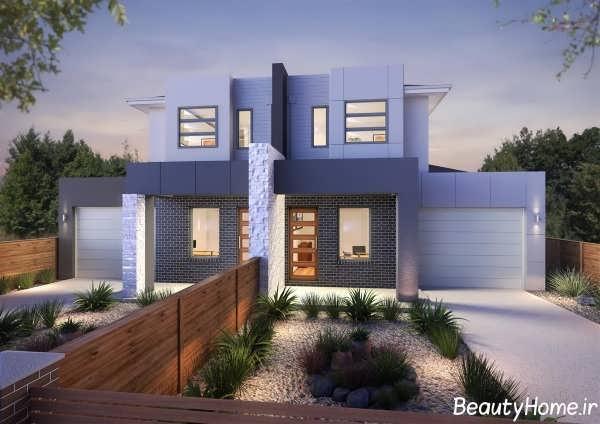 طراحی نمای ساختمان دوبلکس زیبا