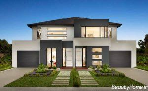 نمای خانه دوبلکس با طراحی زیبا و متفاوت