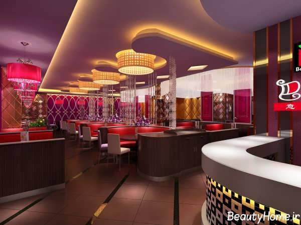 طراحی دکوراسیون رستوران با نورپردازی مدرن