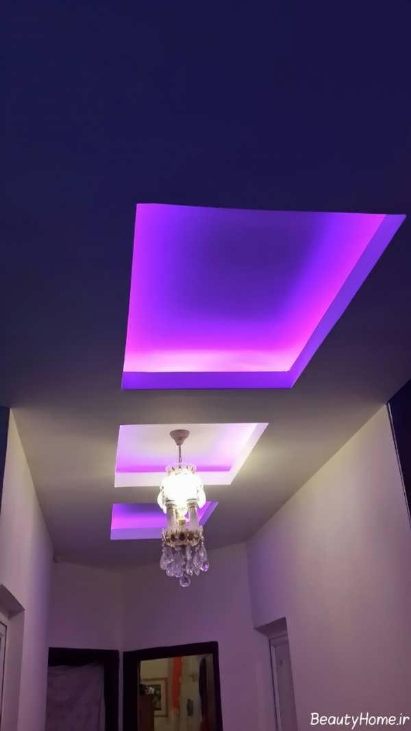 نورپردازی ایده آل و مدرن کناف ورودی ساختمان