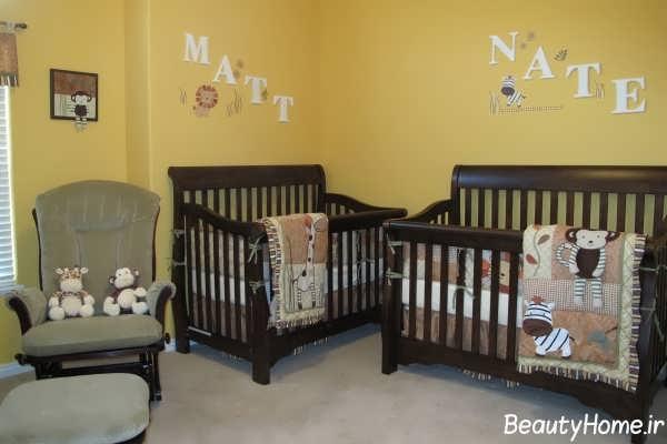 دکوراسیون اتاق نوزاد دوقلو با طراحی شیک و متفاوت