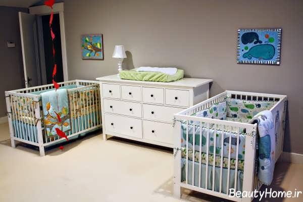 دکوراسیون داخلی اتاق نوزاد دوقلو دختر و پسر