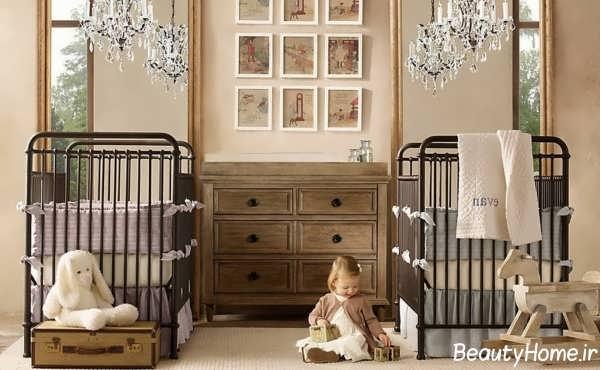 دکوراسیون اتاق نوزاد دوقلو با طراحی مدرن و متفاوت