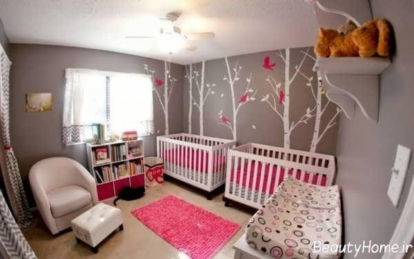 دیزاین دکوراسیون داخلی اتاق نوزاد دوقلو شیک و زیبا