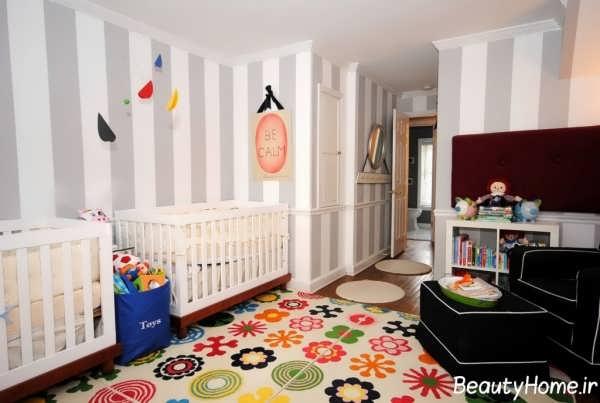 دکوراسیون زیبا و شیک اتاق نوزاد دوقلو