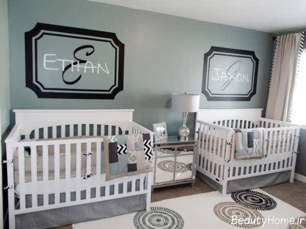 دکوراسیون زیبا و متفاوت اتاق نوزاد دوقلو