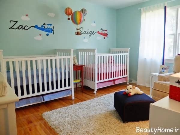طراحی دکوراسیون شیک و متفاوت اتاق نوزاد دوقلو