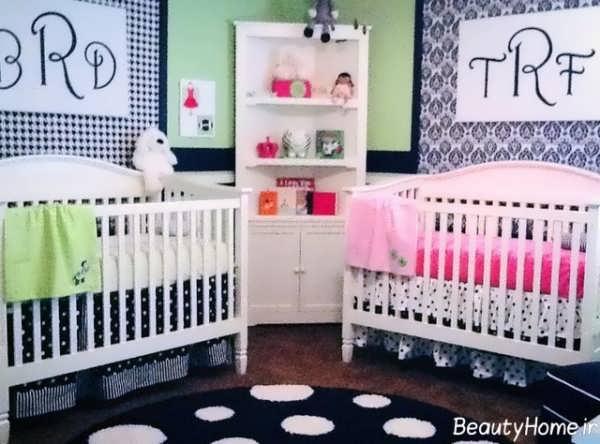 دکوراسیون مدرن و زیبا اتاق نوزاد دوقلو