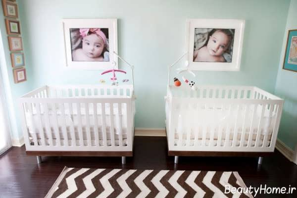 طراحی دکوراسیون شیک و جدید اتاق نوزاد