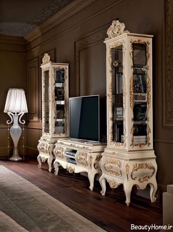 مدل میز تلویزیون سلنطتی برای خانه های بزرگ