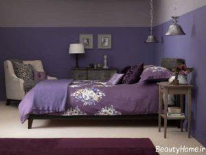 طراحی اتاق خواب بنفش