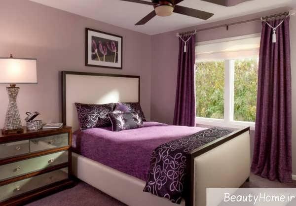 اتاق خواب ارغوانی با دکوراسیون زیبا
