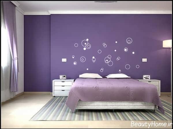 طراحی اتاق خواب زیبا با رنگ ارغوانی