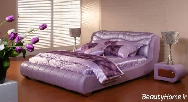 طراحی اتاق خواب دو نفره با رنگ ارغوانی