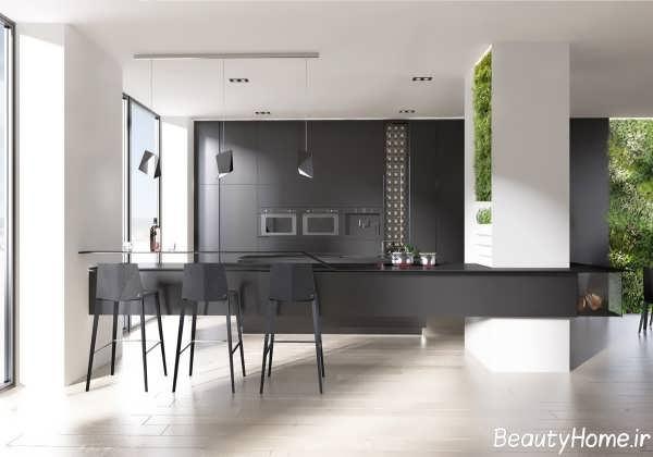 طراحی دکوراسیون آشپزخانه سیاه و سفید