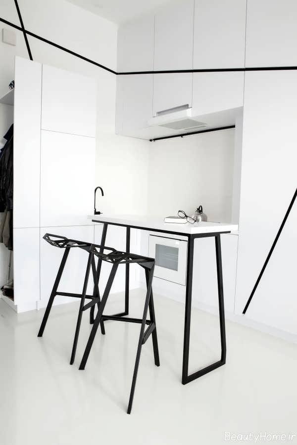 دکوراسیون آشپزخانه سیاه و سفید با طراحی زیبا و مدرن