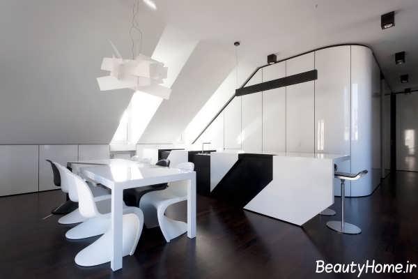 دکوراسیون مدرن آشپزخانه سفید و سیاه
