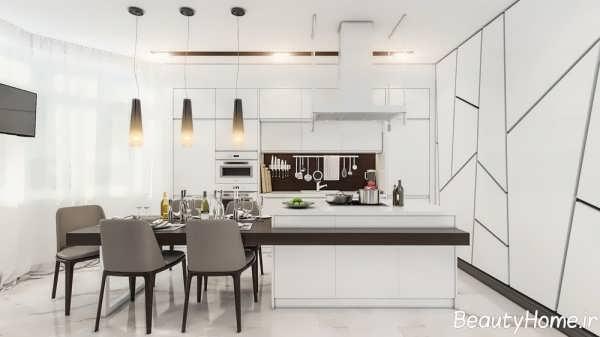دکوراسیون زیبا آشپزخانه سفید و سیاه با طراحی مدرن