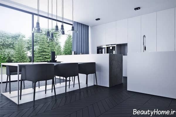 دکوراسیون داخلی آشپزخانه سیاه و سفید