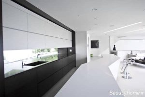 دکوراسیون شیک آشپزخانه سیاه و سفید