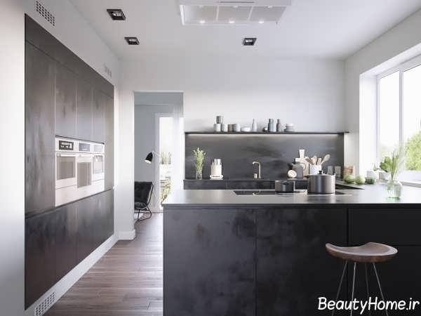 دیزاین دکوراسیون آشپزخانه سیاه و سفید