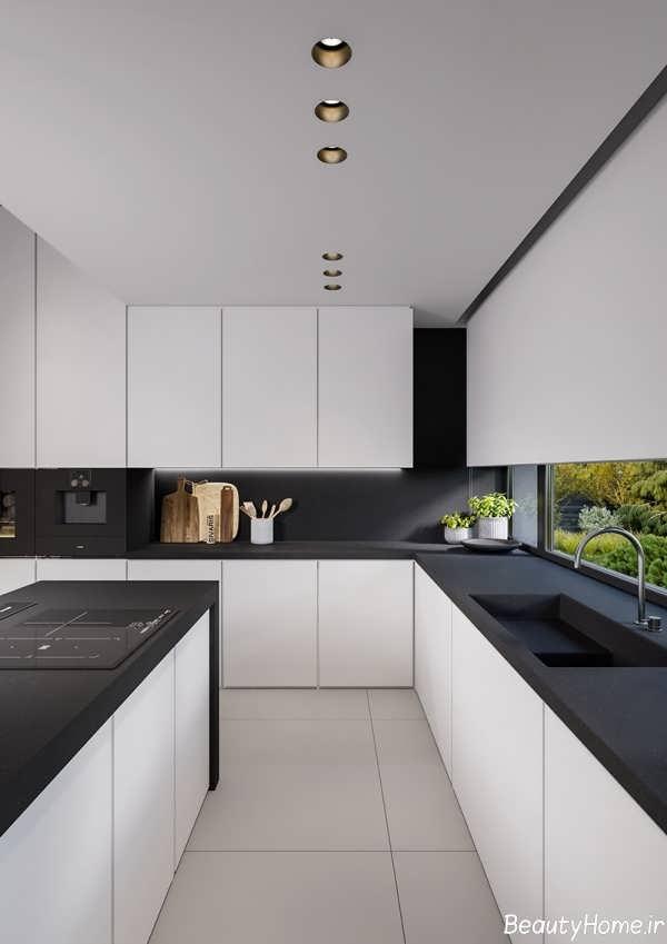 دکوراسیون شیک و مدرن آشپزخانه سیاه و سفید