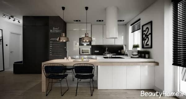 دکوراسیون زیبا و متفاوت آشپزخانه سیاه و سفید