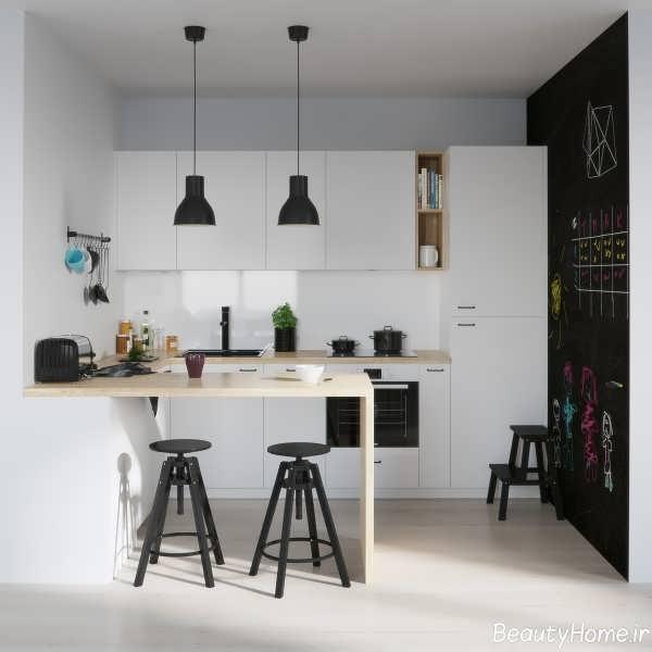 دکوراسیون داخلی زیبا و مدرن آشپزخانه سیاه و سفید