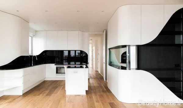 دکوراسیون داخلی آشپزخانه مدرن سیاه و سفید