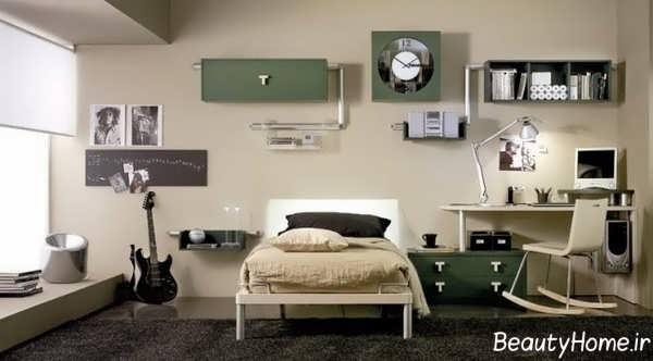 طراحی دکوراسیون اتاق خواب پسرانه مدرن