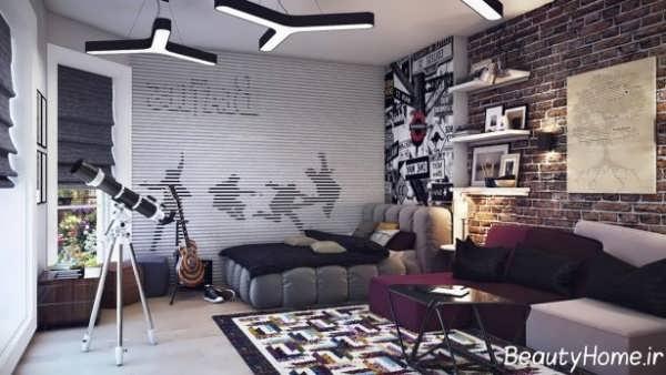 طراحی دکوراسیون اتاق خواب پسرانه جوان و نوجوان