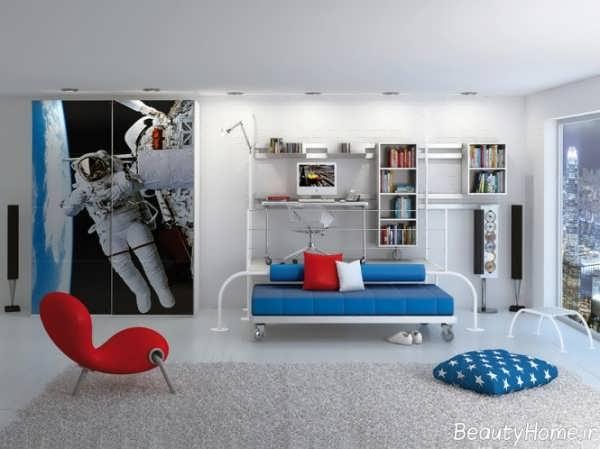 طراحی اتاق خواب پسرانه زیبا و جدید