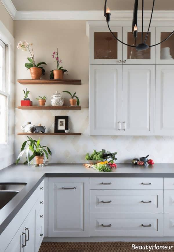 استافده از گلدان های تزیینی در آشپزخانه