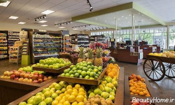 دکوراسیون شیک و کاربردی فروشگاه مواد غذایی