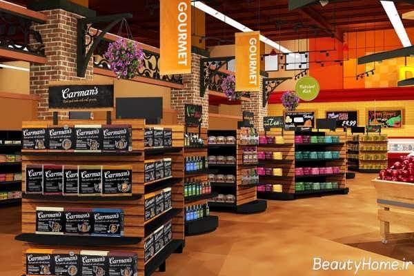 دکوراسیون داخلی شیک فروشگاه مواد غذایی
