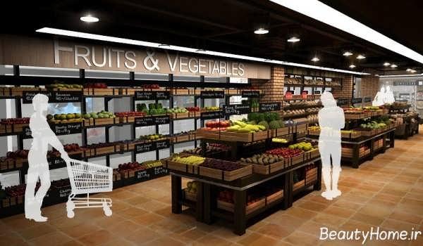 دکوراسیون متفاوت و مدرن فروشگاه مواد غذایی