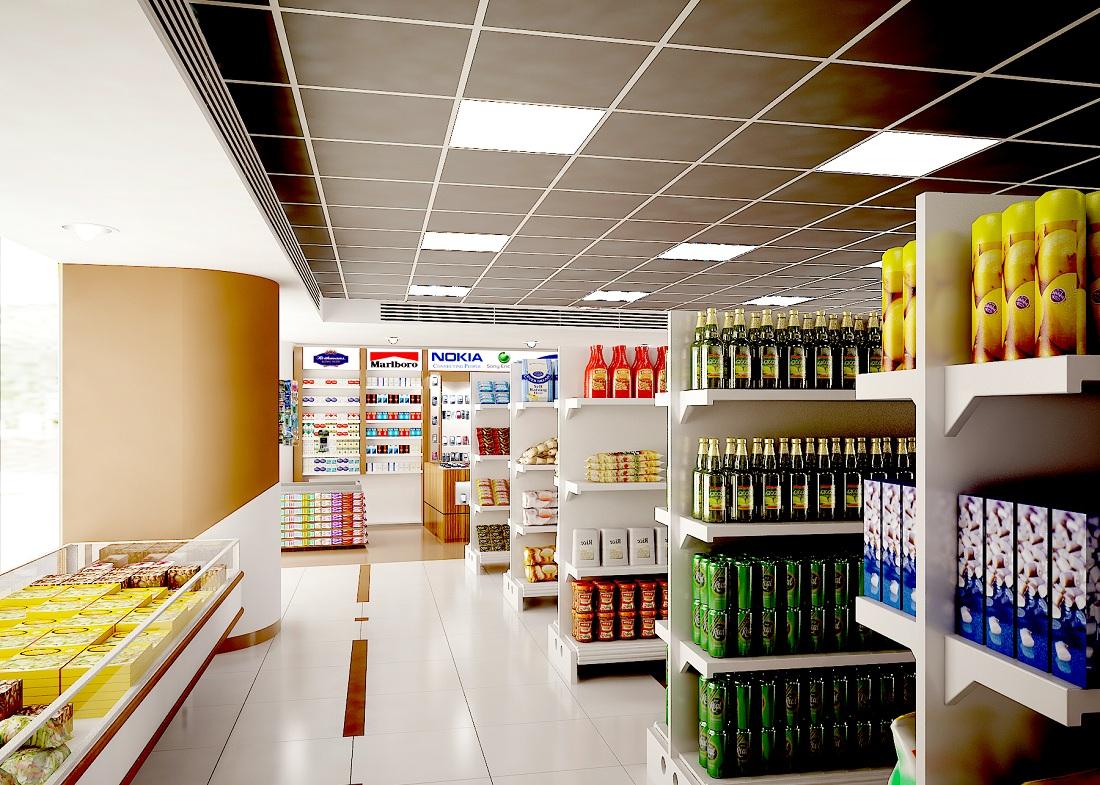 طراحی دکوراسیون فروشگاه مواد غذایی
