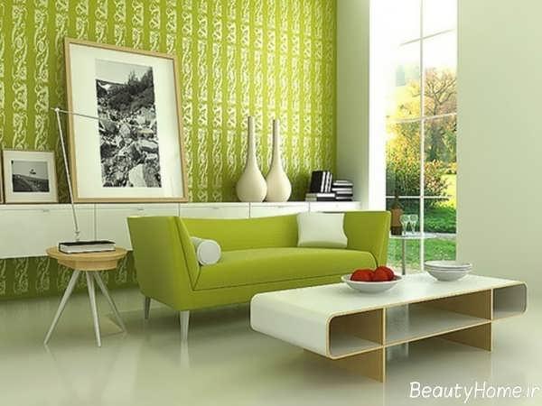 دکوراسیون سبز با طراحی شیک و زیبا