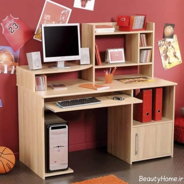 مدل میز کامپیوتر و کتابخانه