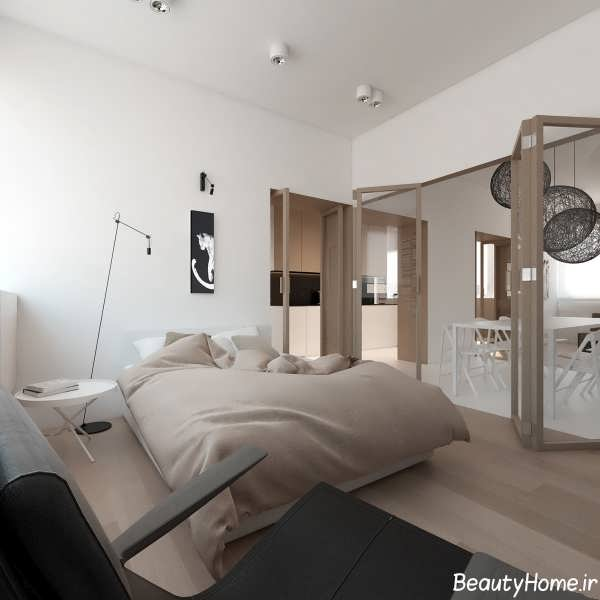 طراحی اتاق خواب زیبا و شیک دو نفره