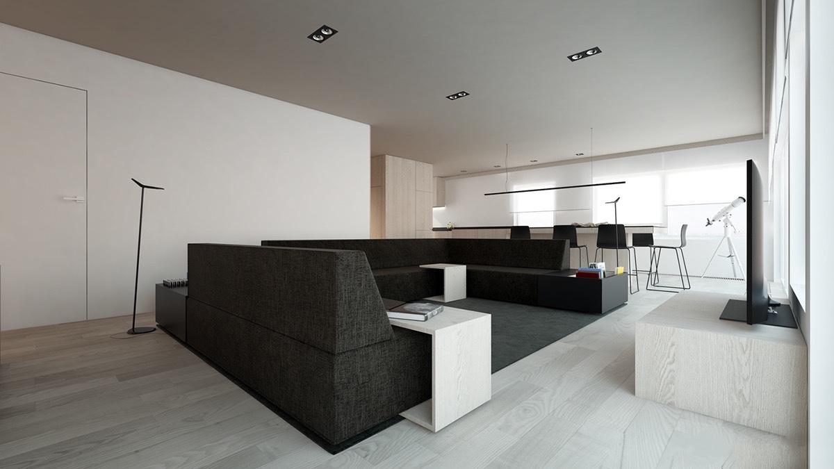 طراحی دکوراسیون خانه یک خوابه
