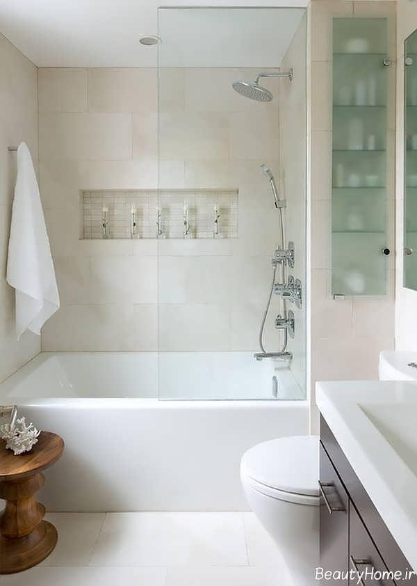 طراحی حمام کوچک با رنگ های روشن
