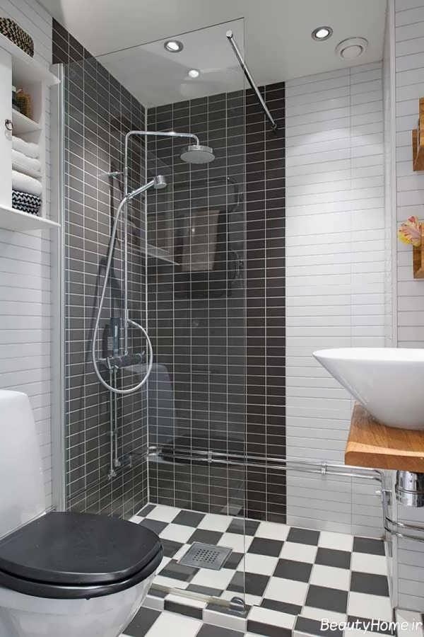 طراحی مدرن و کاربردی حمام کوچک