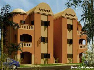 نمای زیبا و جذاب ساختمان سه طبقه